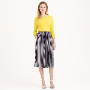 J crew navy striped midi skirt